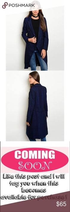 "Now available! Navy coat Long sleeve collared open front button closure coat in dark navy. Fabric Content:SELF: 65% POLYESTER 35% RAYON LINING: 100% POLYESTER. measurements for a size small: L: 39"" B: 36"" W: 32"". ONLY CONSIDERING OFFERS THROUGH THE ""OFFER"" BUTTON. No trades, no off App transactions. Any questions can be addressed below. Available: 3 Small, 2 Medium, 1 Large. Jackets & Coats Pea Coats"