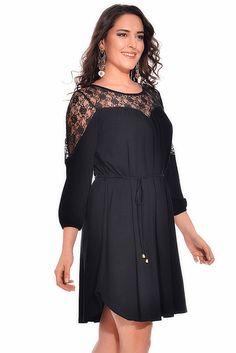 VALERİA FRATTA - Kalp Dekolteli Dantel Detaylı Siyah Elbise VF7030