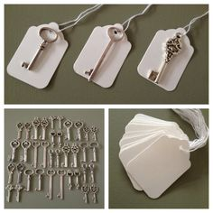 ~ Keys to Happiness ~  100 Antique Silver Keys & 100 White Strung Luggage Tags  These vintage style keys are perfect for wedding escort cards,