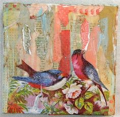 """ENCAUSTIC MIXED MEDIA COLLAGE """"THERAPY SESSION"""""""