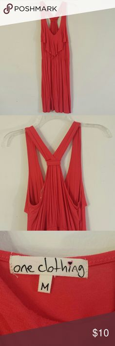 Racerback dress Lightly worn, coral color. Express for exposure. Express Dresses