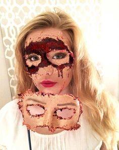 Masquerade Flesh Mask - Scary Halloween Makeup Look
