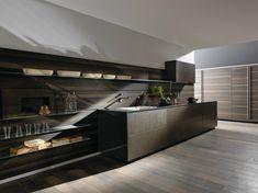 Zeilen- Einbauküche aus Stahl RICICLANTICA INOX TOUCH Kollektion Riciclantica by VALCUCINE | Design Gabriele Centazzo