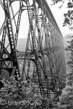 Steel industrial decor linear perspective bridge tallest railroad blown away tornado Without words, The Kinzua Viaduct fine art photograph. $35.00, via Etsy.