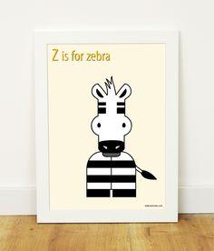 """Z is for zebra"" poster"