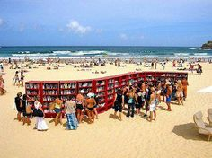 A library on the beach - love it!