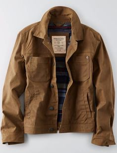 Shop the AEO Utility Jacket from American Eagle Outfitters. Check out the entire American Eagle Outfitters website to find the best items to pair with the AEO Utility Jacket . Mens Canvas Jacket, Bald Men Style, American Eagle Outfits, Types Of Jackets, Spring Jackets, Mens Outfitters, Eagle Outfitters, Western Shirts, Casual T Shirts