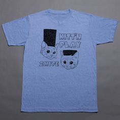 Kitt'n Play Tee Heather Blue now featured on Fab.