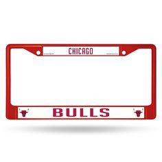 Chicago Bulls License Plate Frame Metal Red