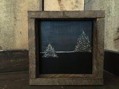 Engraved Art - Primitive - Rustic Decor - Framed Art - Landscape Painting - Trees - Wall Art - Amish - Mantel Decor