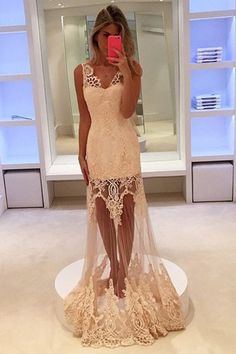 Sexy Prom Dress,Lace Mermaid Prom Dresses,Sleeveless Lace Evening