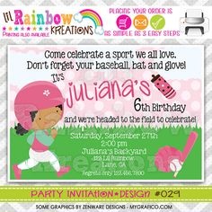 029 DIY Softball 4 Party Invitation Or Thank by LilRbwKreations