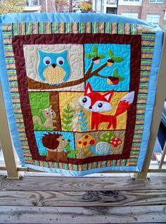 Cute Fox and Owl Quilt by SuryaQuilts Owl Quilts, Animal Quilts, Barn Quilts, Bright Quilts, Small Quilts, Baby Patchwork Quilt, Applique Quilts, Boys Quilt Patterns, Tree Quilt