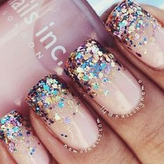 Nude glitter nails great for the party festive season