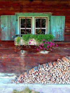 LOVE the windows, shutters, window box, flowers. Old Windows, Windows And Doors, Rustic Windows, Rustic Shutters, Garage Windows, Exterior Windows, Green Shutters, Cottage Windows, Window Boxes