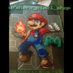 Mario 2014 Smash Bros. perler pixel art by urahara_pixel_shop (Sprite Credit: abysswolf)