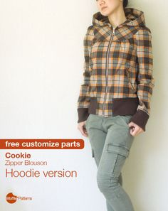 """Free customize option pattern for hoodie! wafflepatterns: """"Free customize sewing pattern here! It's additional hood pattern for my Cookie Zipper Blouson. Cookie Blouson's original collar is knit high. Coat Patterns, Sewing Patterns Free, Free Sewing, Sewing Tutorials, Clothing Patterns, Hoodie Pattern, Jacket Pattern, Sewing Coat, Sewing Clothes"""