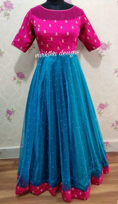 Pink and peacock blue combination designer long frock # designer long frock # long frock designs # boat neck # netted frocks Simple Gown Design, Long Gown Design, Long Gown Dress, Frock Dress, Lehnga Dress, Long Frocks For Kids, Frocks For Girls, Frock Design, Frock Models