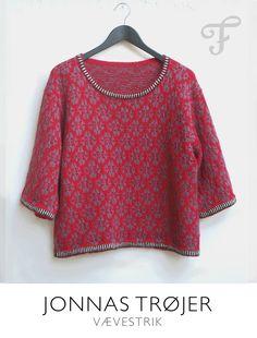 Løvfald rød. Busseronne Vævestrik i alpaka. design af Jonna Balle Jonnas trøjer
