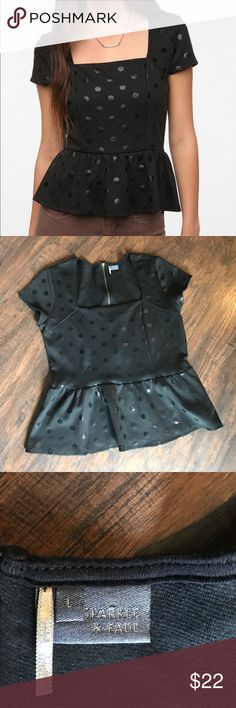 Sparkle & Fade Black Peplum Top Anthropologie Black Peplum top with polka dots in size large. Zipper down back. Sweetheart like neckline. Great to wear with a pencil skirt or jeans! In like new condition. Anthropologie Tops