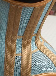 Contour Corsets summertime waist training corset in blue sky poly mesh with gold contrast. Diy Corset, Gothic Corset, Gothic Steampunk, Black Corset, Steampunk Clothing, Victorian Gothic, Steampunk Fashion, Gothic Lolita, Waist Cincher Corset