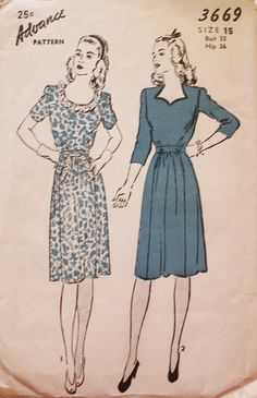 1940s Dress with Sweetheart Neckline Round by BluetreeSewingStudio, $18.00