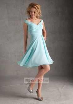2015 Dainty V-Neck Knee Length A Line Pale Blue Chiffon with Draped and Backless Bridesmaid Dresses [2015BBD-39177] - $ 79.99 :