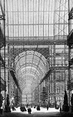 The Great Exhibition of London  Se convirtió en la 1ª gran denuncia del mal gusto que significo el paso de la producción artesanal a la producción industrial.  Londres, 1851, Edificio emblematico, Crytal Palace, obra de hierro y cristal obra de Josef Paxton.