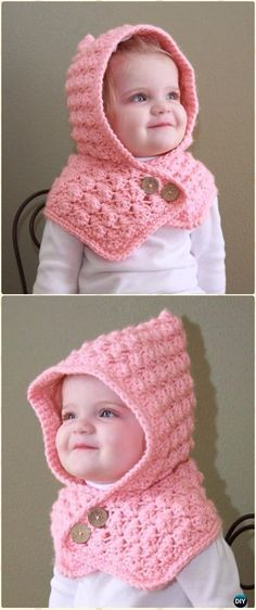 7b4aec92a64 Crochet Textured Toddler Hood Free Pattern. LayetteΠλεκτά Βρεφικά ΚαπέλαBaby  ...