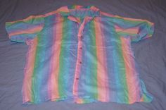 Vintage 1990's - Sherbert Colored short sleeve button down shirt. by TheMercerStreetHouse on Etsy