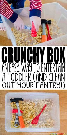 Crunchy Box: A fun activity for your toddler. Use stale food from your cupboard - crackers, croutons, etc. - and let your little one hammer them, make a sensory box and more!
