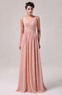Wholesale Hot Cheap Ruched V-neck Chiffon Bridesmaid Dresses Floor Length A-Line Formal Evening Gowns 8 Sizes US2~US16 CL6010, $22.37/Piece | DHgate Mobile