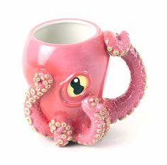 Pink Octopus Ceramic Coffee Mug with Tentacle Handle. Coffee mugs, unique gift ideas, gifts for coffee lovers, Dot And Bo, To Go Becher, Mug Design, Inked Shop, Cool Mugs, Tea Mugs, Mug Cup, Pantone, Coffee Cups