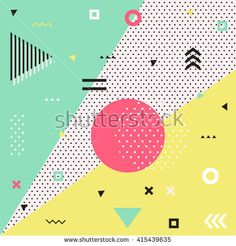 Trendy geometric elements memphis cards.  Retro style texture, pattern and geometric elements. Modern abstract design poster, cover, card design.