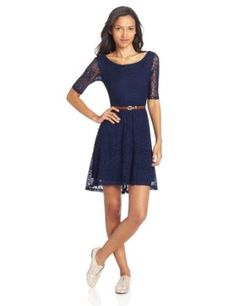 Sequin Hearts by My Michelle Juniors Lace Crew Neck Dress with Belt