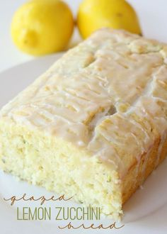 Delicious Glazed Lemon Zucchini Bread Recipe that is soft, moist, filled with grated zucchini and lemon juice and topped with a lemony glaze.