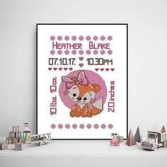 Baby Cross Stitch Patterns, Cute Fox, Cute Animals, Handmade Gifts, Etsy, Pretty Animals, Kid Craft Gifts, Cutest Animals, Craft Gifts