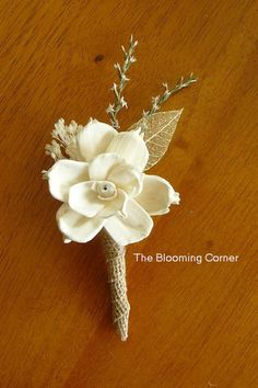 Boutonniere Sola Wood Boutonniere Wedding  by TheBloomingCorner