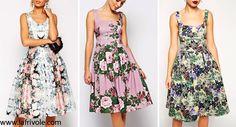floral midi skater dress prom dress in satin or scuba
