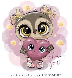 Cartoon Owl girl with heart on the stars background. Cute Cartoon Owl girl with heart on the stars background royalty free illustration Cartoon Cartoon, Cute Owl Cartoon, Owl Vector, Vector Art, Cute Drawings, Animal Drawings, Owl Wallpaper, Star Background, Owl Art