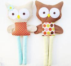 Owl Sewing Pattern Boy Owl Girl Owl Doll Sewing by GandGPatterns. $10.00, via Etsy.
