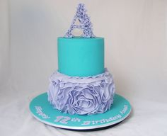 Two Tiered Teal and Violet Cake by My Cake Place http://www.mycakeplace.com.au/