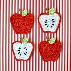 Apple - Crochet applique and kitchen acessories - besenseless.blogspot.com