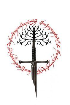 Lord of the rings sword of the king the white tree of gondor and ring of power Herr der Ringe Schwert des Königs der weiße Baum von Gondor und Ring der Macht Tolkien Tattoo, Tatouage Tolkien, Lotr Tattoo, Diy Tattoo, Jrr Tolkien, Tree Of Gondor Tattoo, Ring Tattoos, Body Art Tattoos, Ring Tattoo Designs