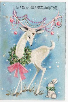 White Deer Reindeer Baubles Decorate Antlers Pink VTG Greeting Card Christmas