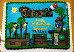 My son's Terraria bday cake! Design at walmart Bakery!!!
