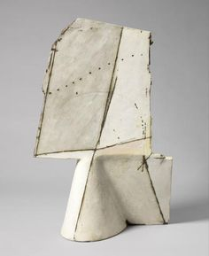 Gordon Baldwin An Architectural Slab Vase, 1984 with compartment, highlighted with shading and banding, in tones of grey, white, blue and brown 56cm high, artist monogram and dated to base