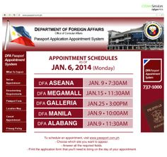 DFA Passport Appointment schedule update: January 6, 2014