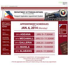 DFA Passport Appointment schedule update: January 6, 2014
