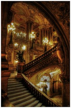 L'Opera Garnier, Paris, France.... Ah, i was so fortunate to experience a ballet here...BEAUTIFUL